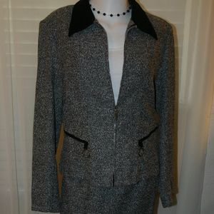NYC 2 piece Black Tweed Skirt and Jacket Suit